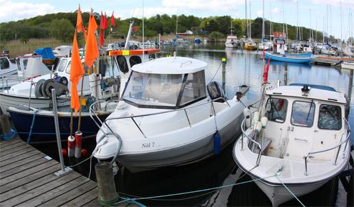 Nive Å's Lystfiskerforenings båd i Nivå Havn